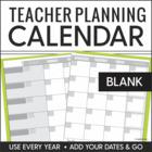 2014-2015 Teacher Planning Calendar Template