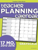 2015-2016 Teacher Planning Calendar Template {Grayscale}