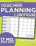 2015-2016 Teacher Planning Calendar Template {Grayscale}