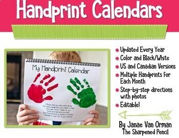 {2016} Handprint Calendars with Poems - Editable!