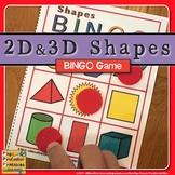2D and 3D Shapes Bingo