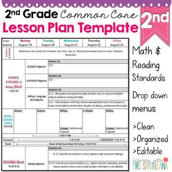 2nd Grade Common Core Lesson Plan Template