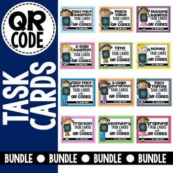 2nd Grade Math QR Code Task Card Growing Bundle