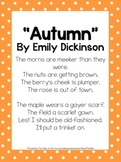 2nd Grade Mini Unit Using CCSS Exemplar Text Autumn Poem b