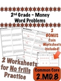 2nd Grade Money Word Problems - Common Core 2.MD.8