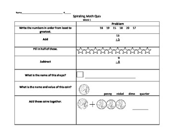 2nd grade Spiraling Math Test 1-5