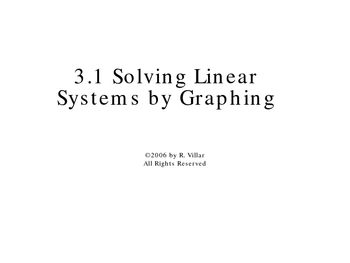 3-1 Solve Systems by Graphing