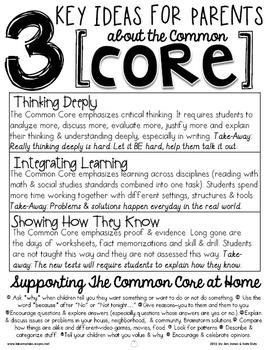 3 Key Ideas for Parents about the Common Core: A Handout