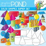 3D Shapes / Solid Shapes Super Set  - Clipart for Teachers