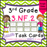 Fractions on a Number Line Task Cards for Third Grade Math