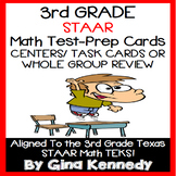 3RD GRADE MATH STAAR CLASS REVIEW, CENTERS, TASK CARDS, 10