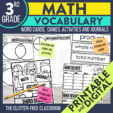 3rd Grade 125 Common Core Math Vocabulary Word Wall Cards