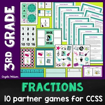 3rd Grade Fractions Math Partner Games:10 Games Designed for Common Core