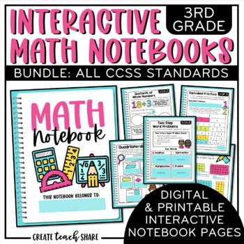 3rd Grade Interactive Math Notebook {BUNDLE}
