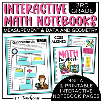 3rd Grade Interactive Math Notebook - Measurement & Data and Geometry