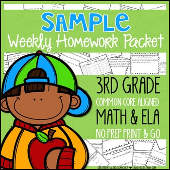 3rd Grade Weekly Homework Packet: Sample!