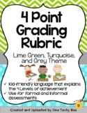 4-Point Grading Rubric -  Turquoise, Lime Green, and Grey