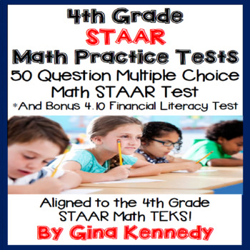4TH Grade STAAR Math Practice Tests, ALL CURRENT TEKS! FINANCIAL LITERACY TOO!