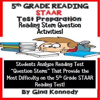5th GRADE STAAR READING STEMS ACTIVITIES TEST PREPARATION