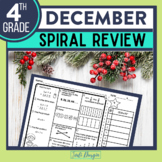 4th GRADE Homework Morning Work for MATH - DECEMBER NO PREP