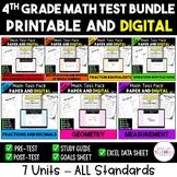 4th Grade CC Math Test & Excel Data Sheet Bundle - ALL STANDARDS