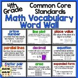 Math Word Wall and More - 4th Grade