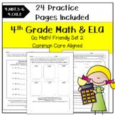 Morning Work Math & ELA 4th Grade for Go Math! Ch. 3-4 SET 2