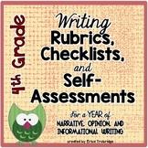 4th Grade Common Core Writing Rubrics & Checklists for the