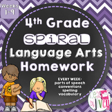 4th Grade Grammar / Language Spiral Homework Weeks 1-9