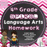 4th Grade Grammar / Language Spiral Homework Weeks 28-36