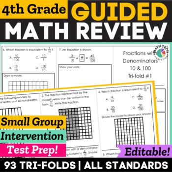 4th Grade Math Written Response Tri-Folds - All Standards