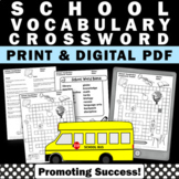 Back to School Ideas Vocabulary Crossword Puzzle Beginning