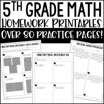 5th Common Core Math Homework Printables
