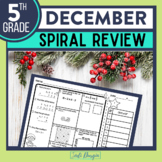 5th GRADE Homework Morning Work for MATH - DECEMBER NO PREP