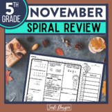 5th GRADE Homework Morning Work for MATH - NOVEMBER NO PREP