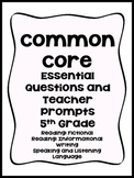 Common Core Essential Questions and Teacher Prompts (5th Grade)