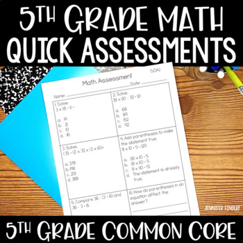 5th Grade Common Core Math Assessments and Data Collection  *All Standards*