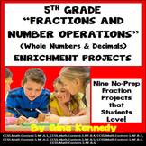 5th Grade Fractions Enrichment Projects