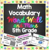 5th Grade Common Core Math Vocabulary Word Wall and More