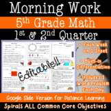 5th Grade Daily Math Morning Work 1st and 2nd quarter
