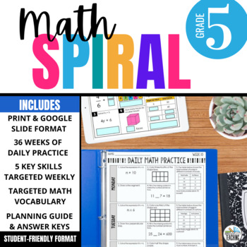5th Grade Daily Math Spiral Review: 36-week Bundle (CCSS & TEKS aligned)