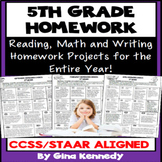 5th Grade Homework Program for the Entire Year!  Standards