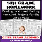 5th Grade Common Core Homework Language Arts & Math All Year!