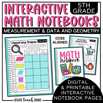5th Grade Interactive Math Notebook - Measurement & Data and Geometry