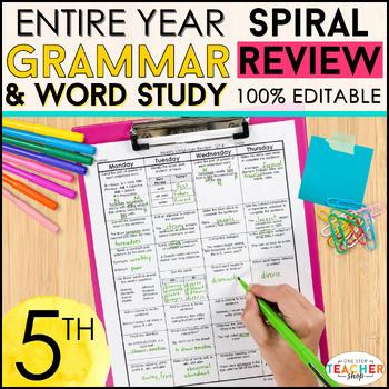 5th Grade Spiral Language Homework {Common Core} ENTIRE YEAR!!! - 100% Editable