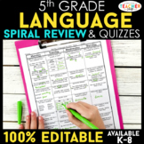 Fifth Grade Language Homework ENTIRE YEAR } EDITABLE
