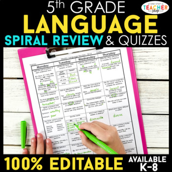 5th Grade Spiral Language Homework {Common Core} ENTIRE YEAR!!! - 100% Editable