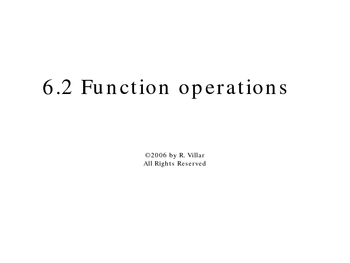 6-2 Function operations