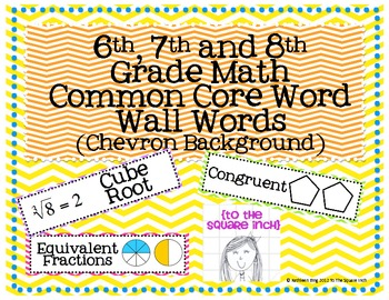 6th, 7th and 8th Grade Math Common Core Word Wall Words- C