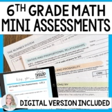 6th Grade Math Common Core Mini Assessments